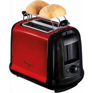 moulinex toaster lt261d subito, voor 2 sneetjes brood, 850 w, rood-metallic-zwart rood