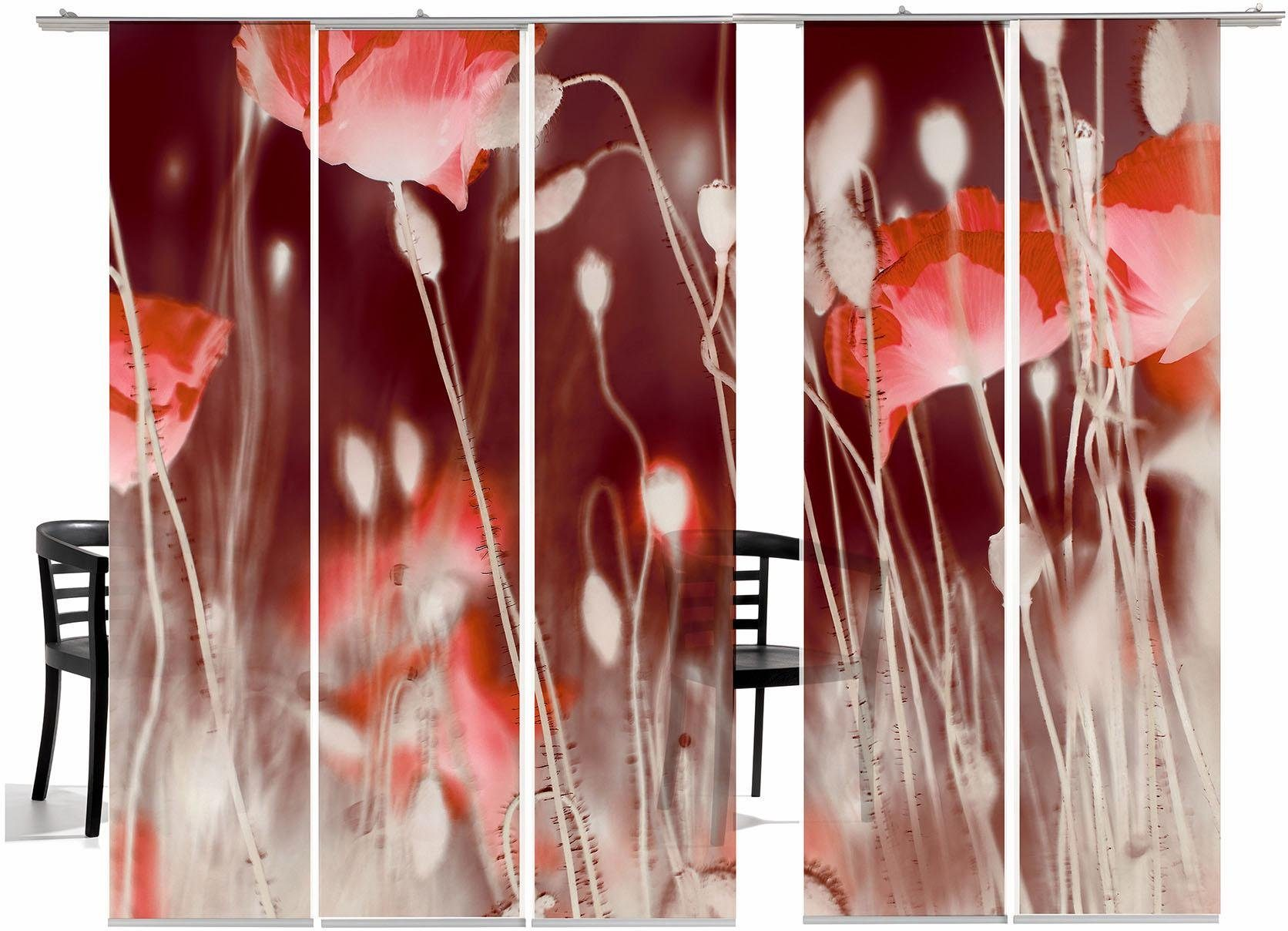 Paneel Gordijn 6 : Paneelgordijn emotion textiles wilde klaproos tr« met