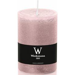 wiedemann marble doorgeverfde kaars met banderol in set van 8, ø 6,8 cm in 2 afmetingen roze