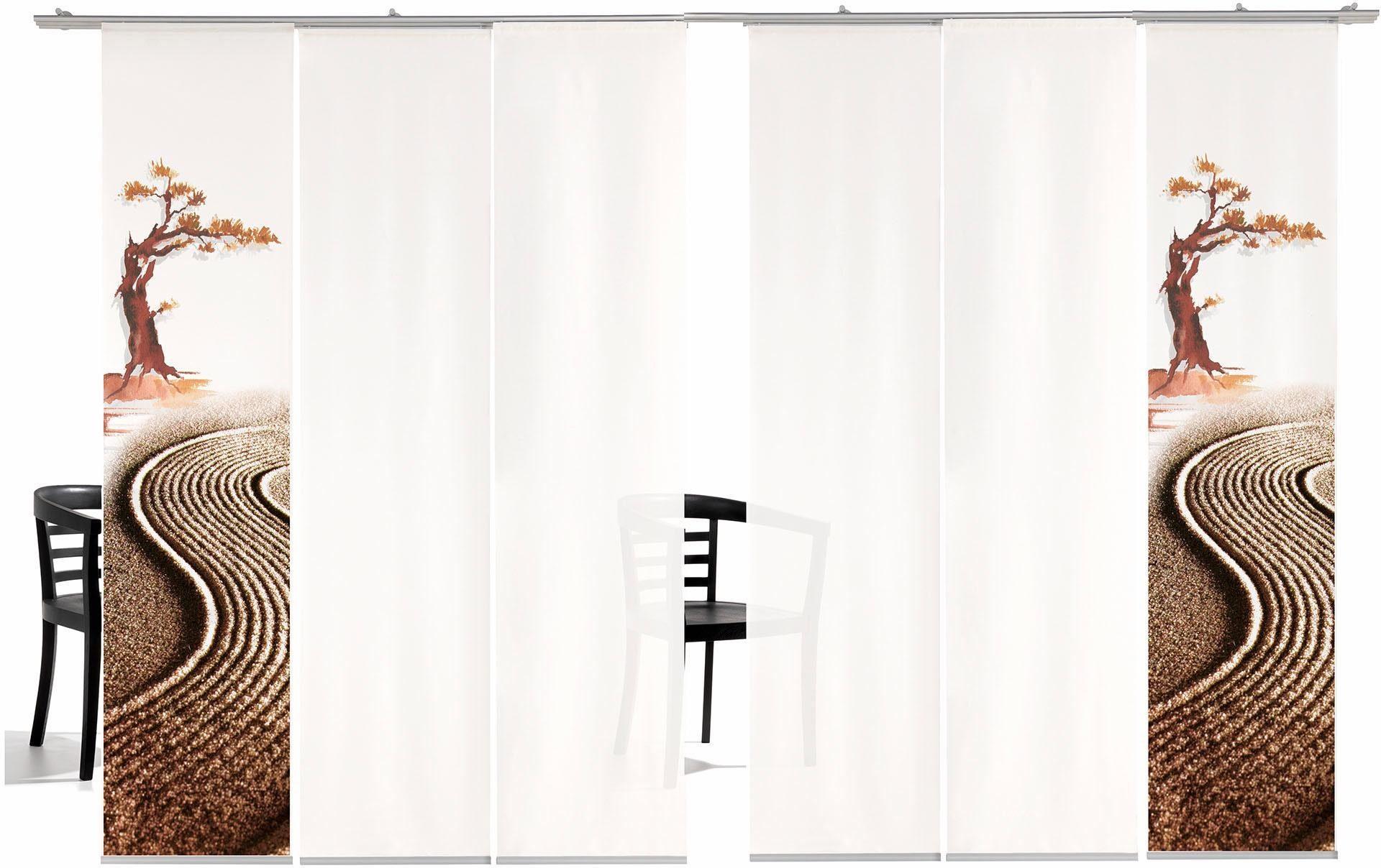 Paneel Gordijn 6 : Paneelgordijn bonsai ha« emotion textiles klittenband set van