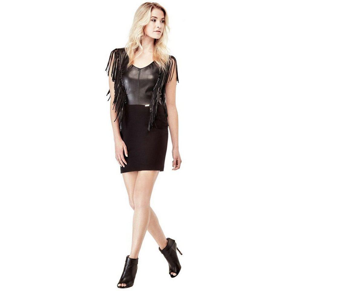 Guess jurk Slim franje zwart
