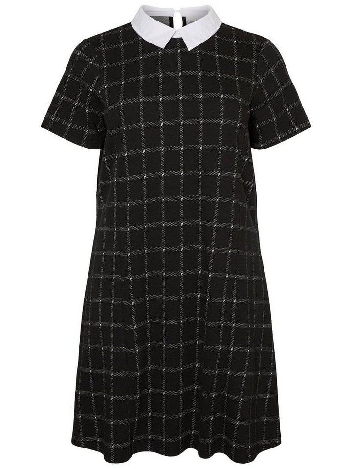 Junarose Geruite jurk zwart