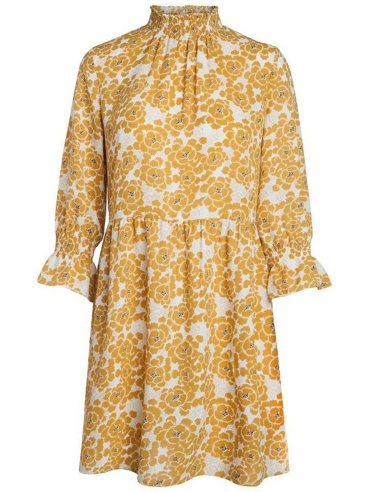 Pieces Met bloemen bedrukte jurk goud