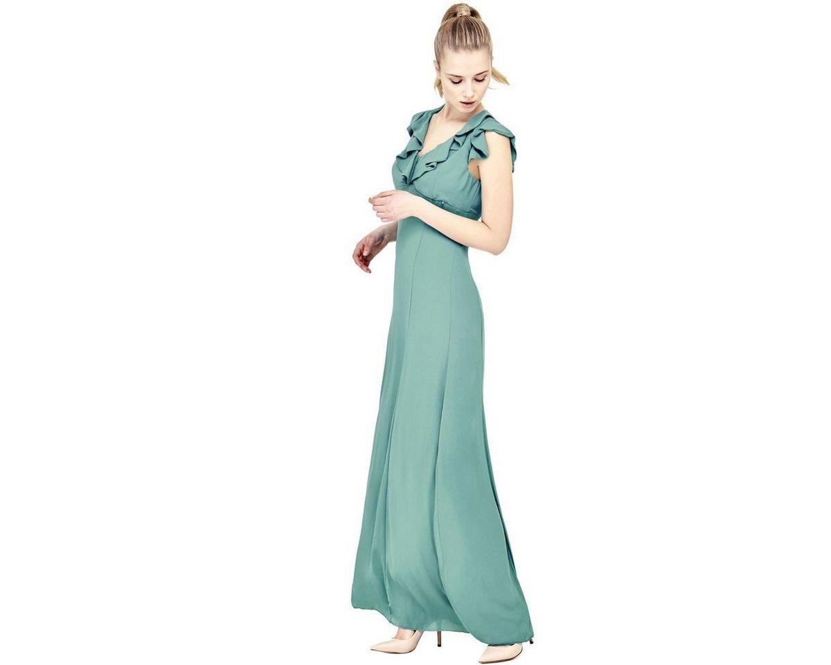 Guess jurk met hals voorzien van volant groen