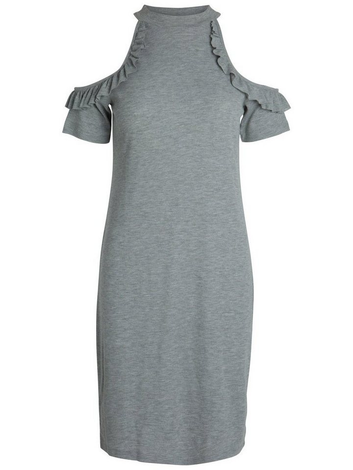 Pieces Ruche jurk grijs