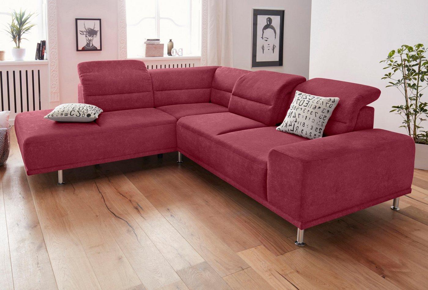 SIT & MORE hoekbank met binnenvering en lange zijde, inclusief zitdiepteverstelling