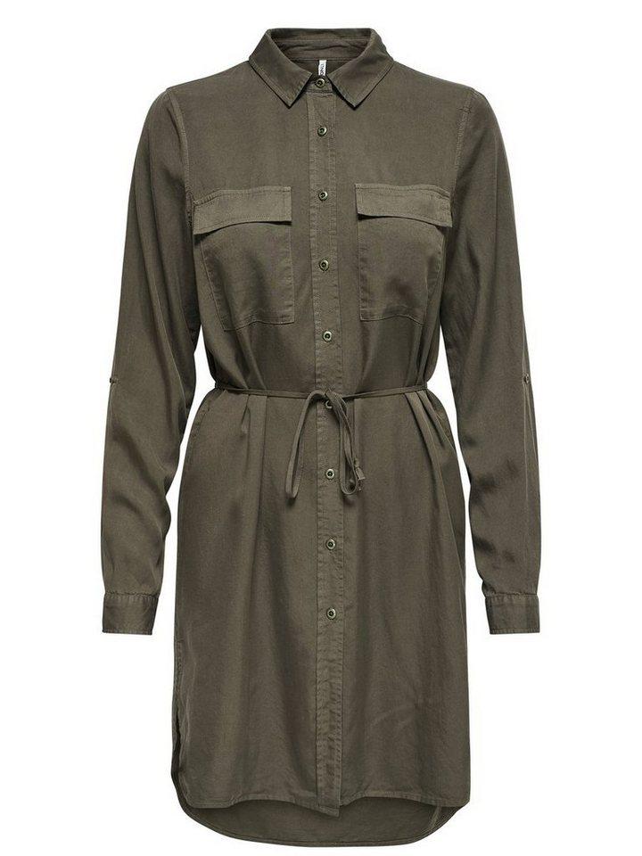 ONLY Gedetailleerde jurk met lange mouwen bruin