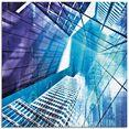 artland print op glas keulen skyline abstracte collage 11 (1 stuk) blauw