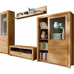 mca living wandmeubel fenja met soft-closefunctie en van massief hout, incl. verlichting (set, 4 stuks) beige