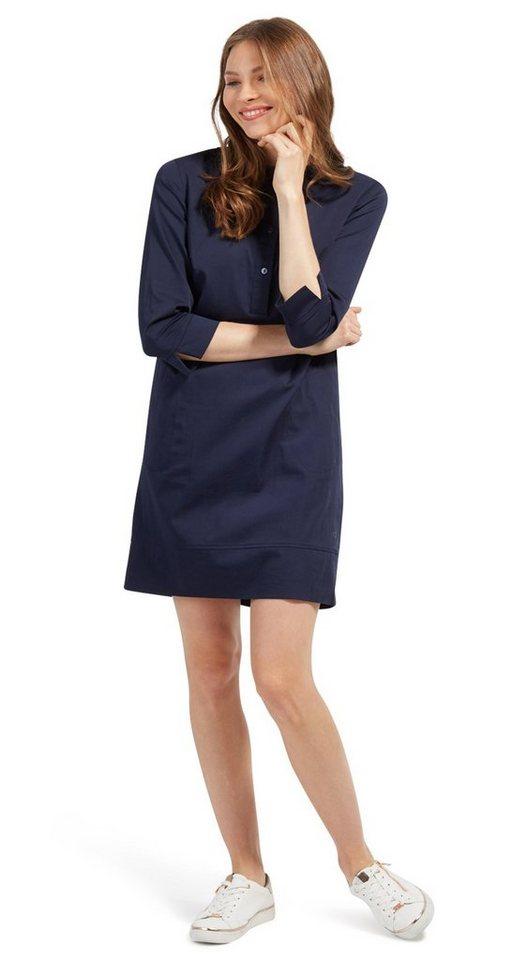 Tom Tailor jurk Blusenkleid mit kurzer Knopfleiste blauw