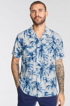 tommy hilfiger overhemd met korte mouwen large water color palm shirt s-s wit