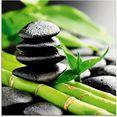 artland print op glas groei - lavastenen bamboe (1 stuk) groen