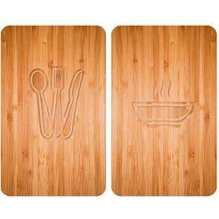 wenko kookplaatafdekblad, set van 2, 30 x 52 cm, »lunch« beige