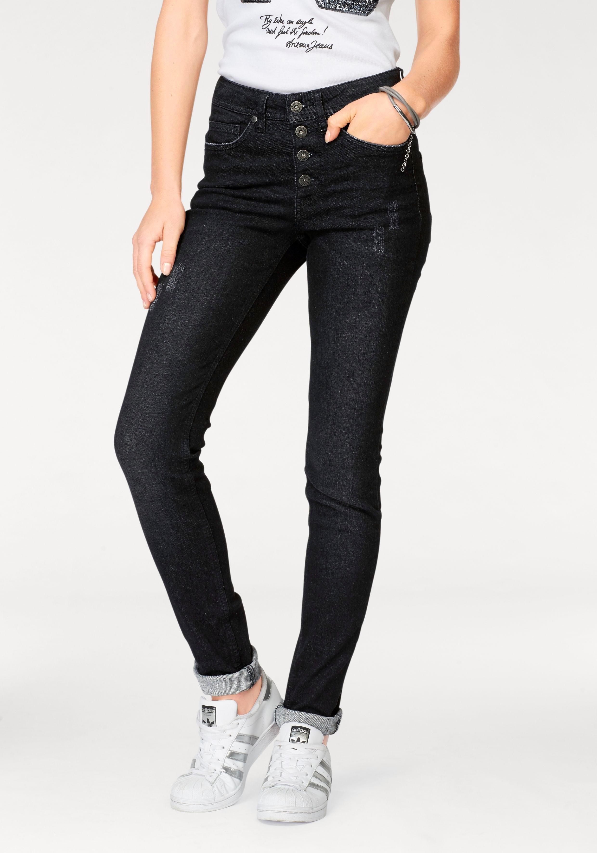 Arizona skinny jeans Met zichtbare knoopsluiting High Waist goedkoop op otto.nl kopen