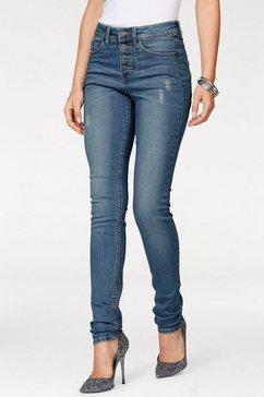 arizona skinny-fitjeans »met zichtbare knoopsluiting« blauw