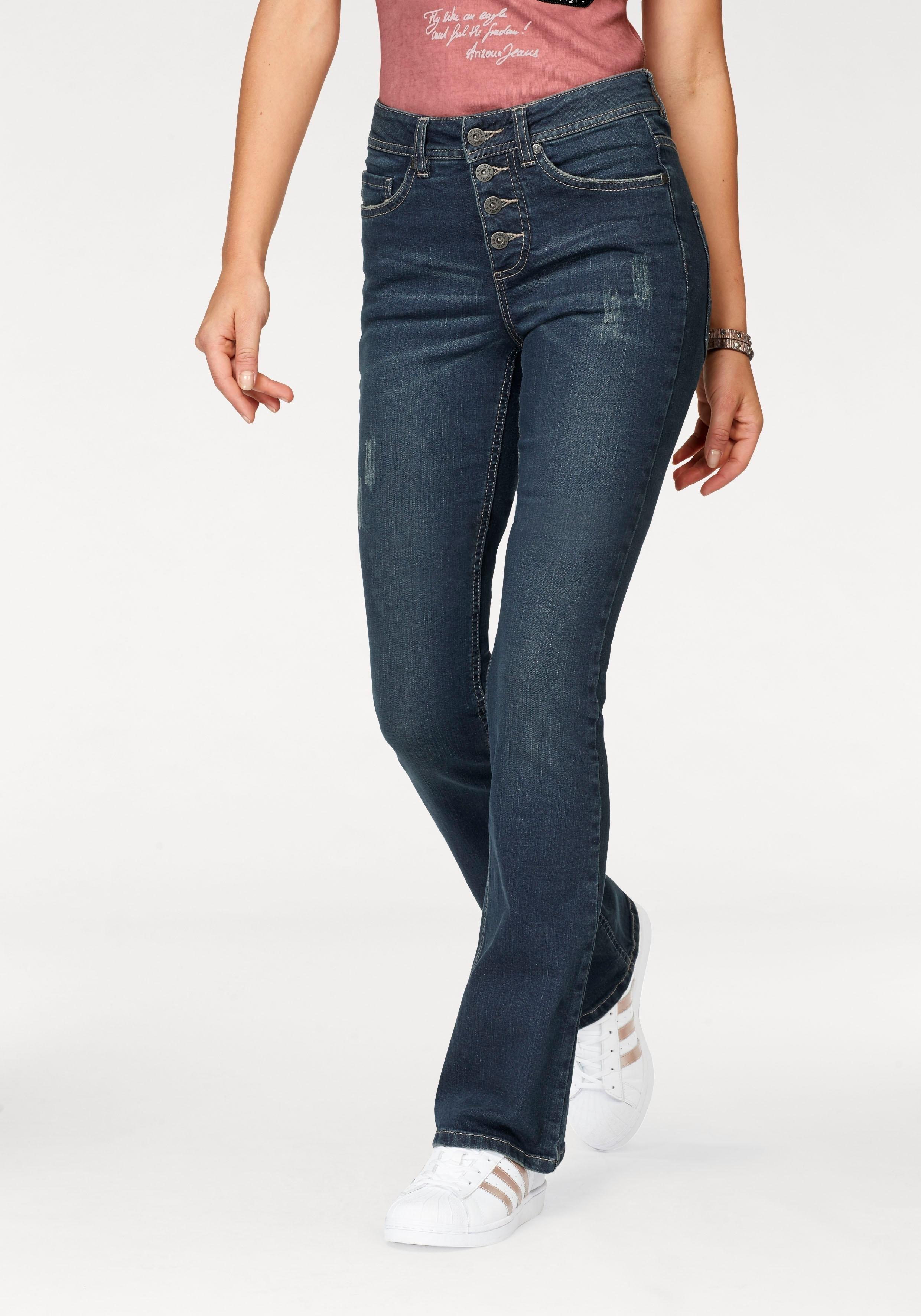Arizona bootcut jeans Met zichtbare knoopsluiting High Waist nu online kopen bij OTTO