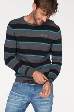 john devin trui met ronde hals in streep-look grijs