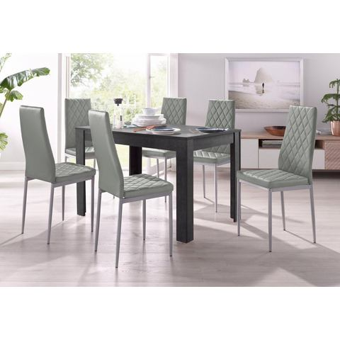 Eethoek, 4 stoelen met tafel in leisteenkleur, breedte 120 cm (5-delig)