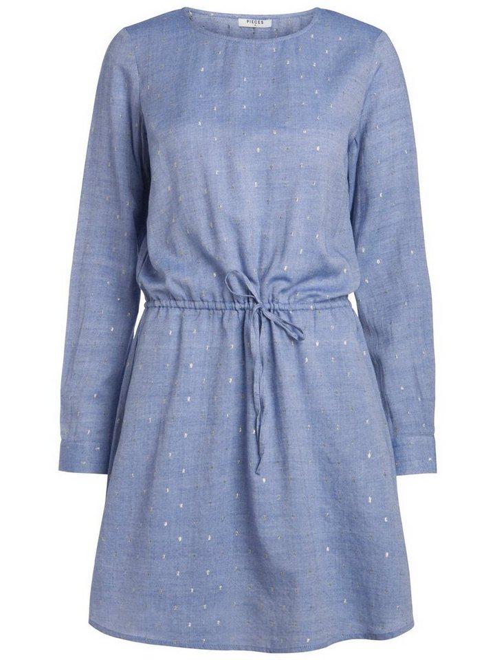 Pieces Lange mouw jurk blauw