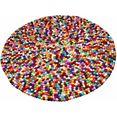 wollen kleed, »maja«, home affaire collection, rond, hoogte 22 mm, met de hand geweven multicolor