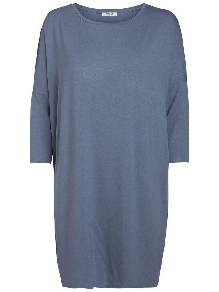 Pieces 3/4-mouw jurk grijs