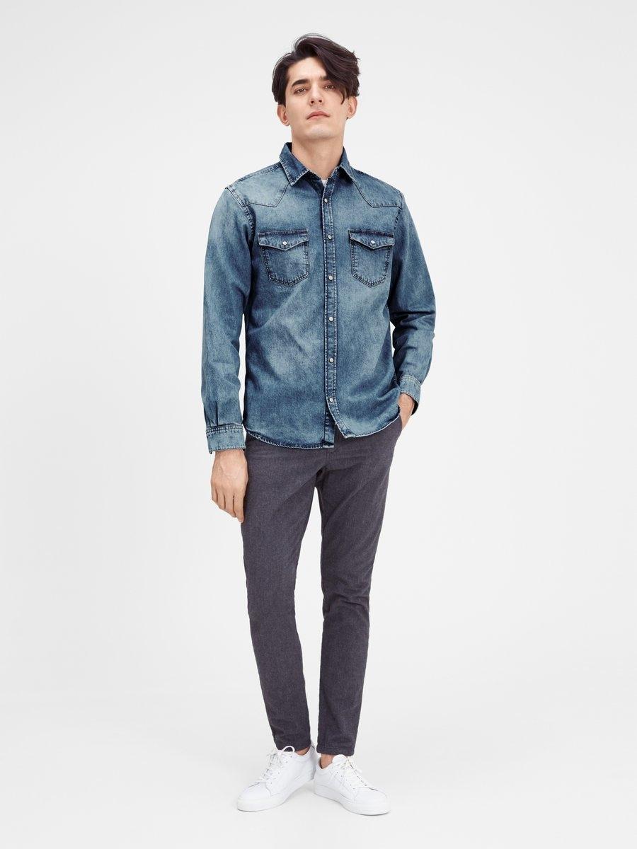Jackamp; De Denim Online Winkel In Lange Jones Met Overhemd Mouwen N0nvm8OywP