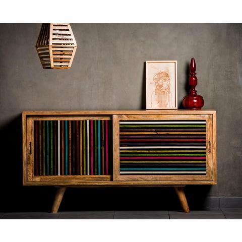 Home affaire dressoir Joe, breedte 120 cm, met gekleurde houten latten in de fronten