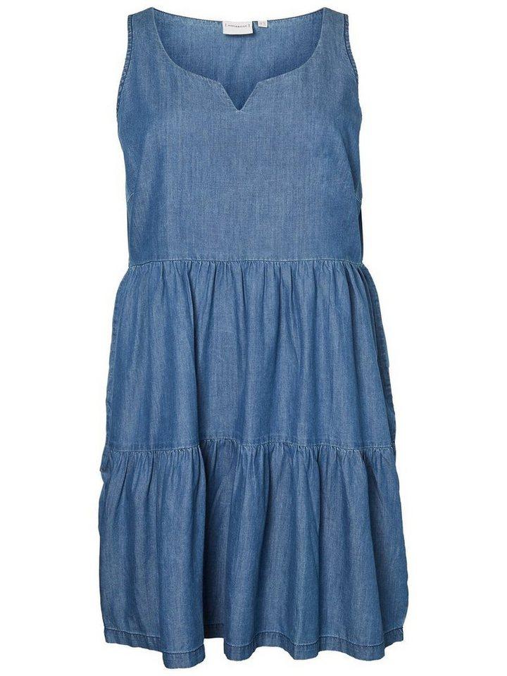 Junarose Denimlook Mouwloze jurk blauw