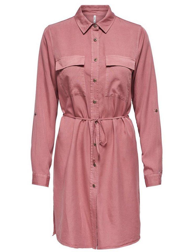ONLY Gedetailleerde jurk met lange mouwen roze