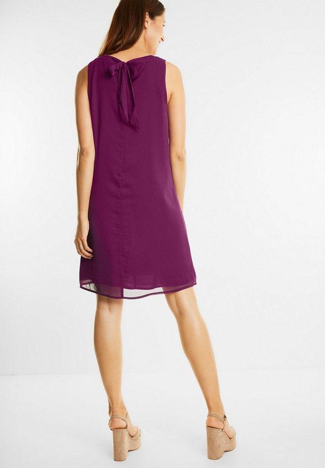 Street One chiffon jurk met strik paars