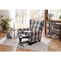 home affaire relax--oorfauteuil »alessa« met verstelbare rugleuning en uittrekbare voetensteun blauw