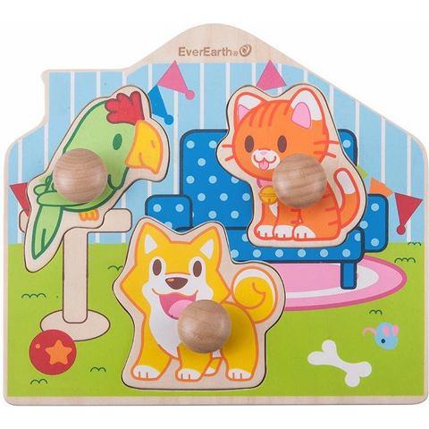 EverEarth® houten speelgoed, Puzzel huisdieren