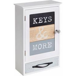home affaire sleutelkastje »used look« met 9 metalen haken voor sleutels wit