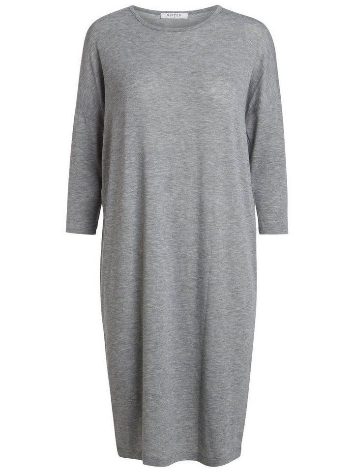 Pieces Lange oversized jurk grijs