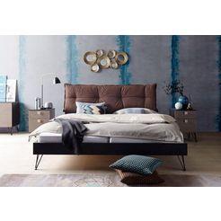 inosign futonbed met een bekleed hoofdbord zwart