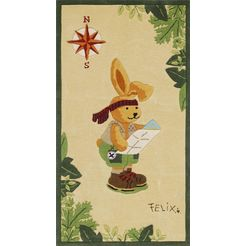 vloerkleed voor de kinderkamer, »felix de haas 2192«, rechthoekig, hoogte 10 mm, handgetuft beige