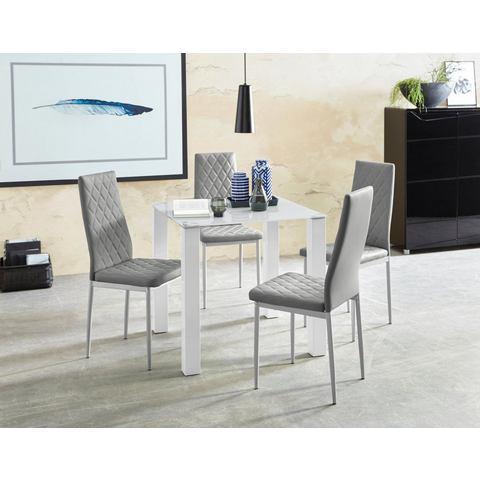 Eethoek, 5-delig met glazen tafel, 80 cm breed