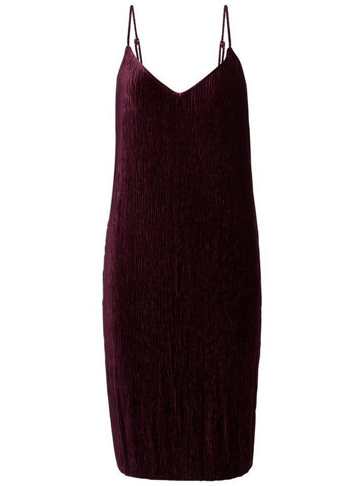 NU 21% KORTING: Pieces Geplooide velours jurk rood