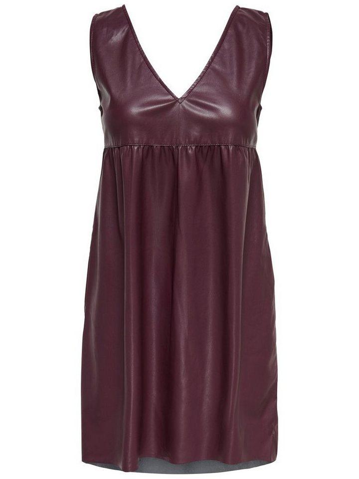 ONLY Leatherlook Mouwloze jurk rood