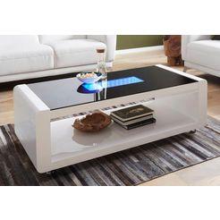 salontafel met 3d-led-verlichting, op rollers wit