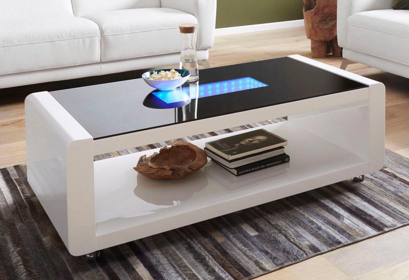 Salontafel met 3D-LED-verlichting, op rollers
