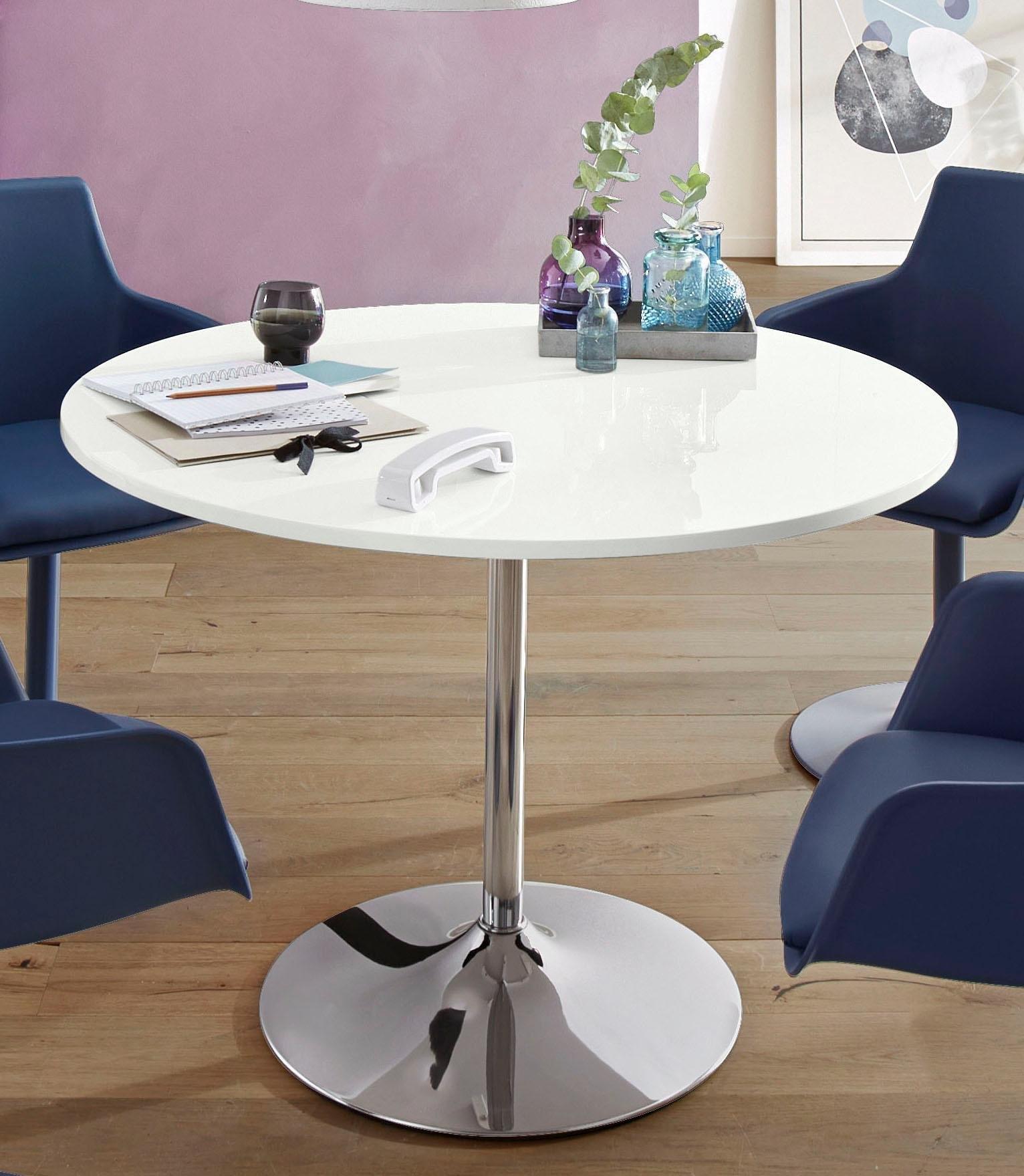 INOSIGN eettafel Trompet rond, ø 110 cm, tafelblad hoogglans-wit bij OTTO online kopen
