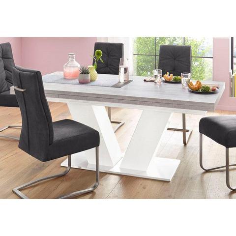 Eettafel op zuil in V-model met uittrekfunctie, grondbreedte 180 cm