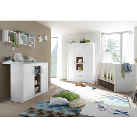Kinderkamer Usedom ledikantje + commode + garderobekast, in imitatie-pine met structuur wit