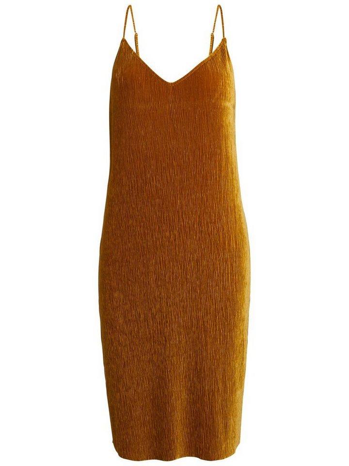 Pieces Geplooide velours jurk goud