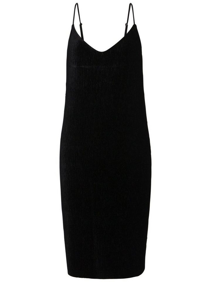 Pieces Geplooide velours jurk zwart