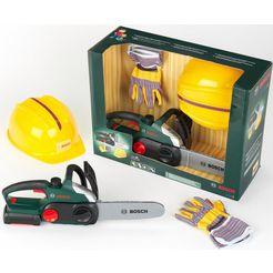 klein speelgoedgereedschap bosch kettensaege mit helm und handschuhe (set) groen