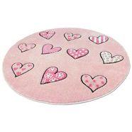 vloerkleed voor de kinderkamer, »momo herz«, quinna kids world, rond, hoogte 13 mm, mach. geweven roze