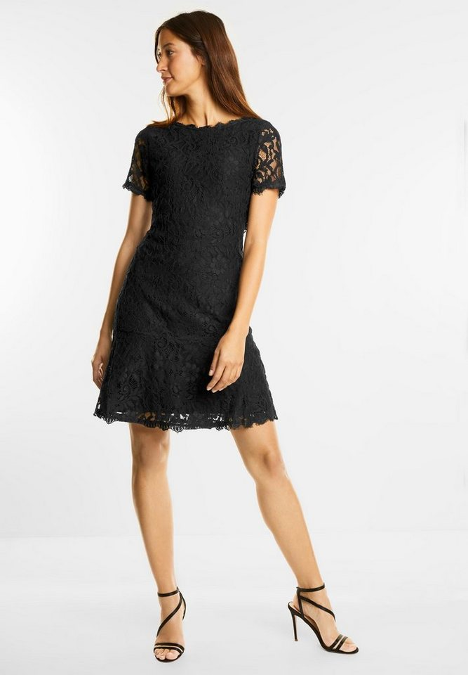 Street One jurk van bloemenkant Rania zwart