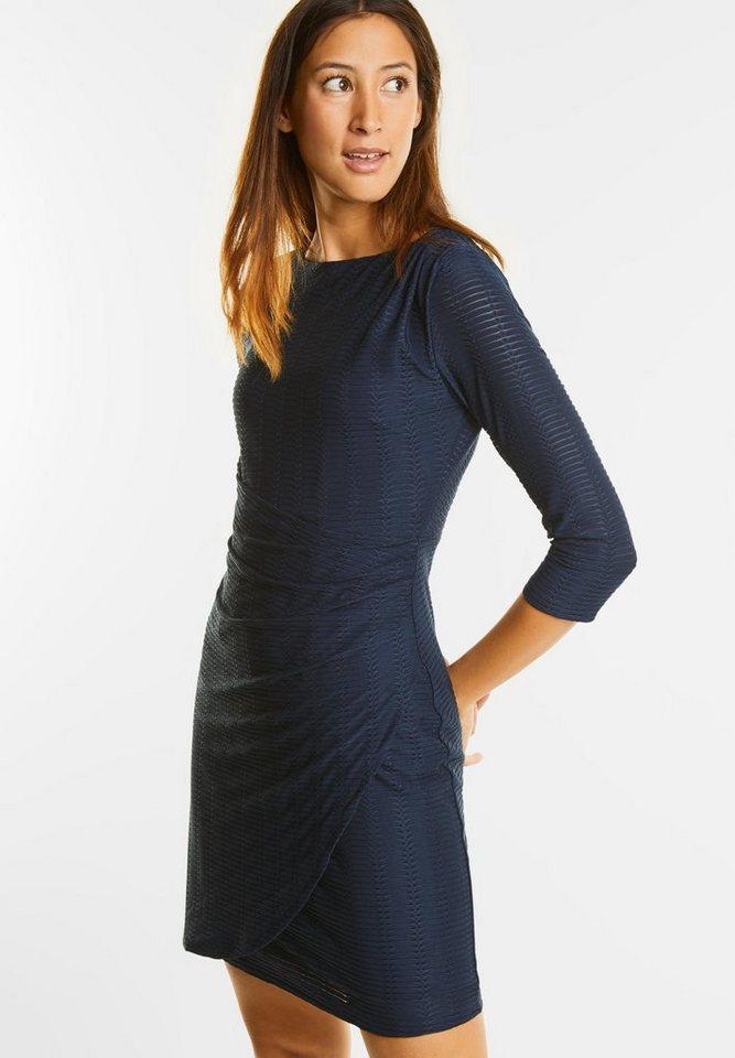 Street One jersey jurk met plooien blauw